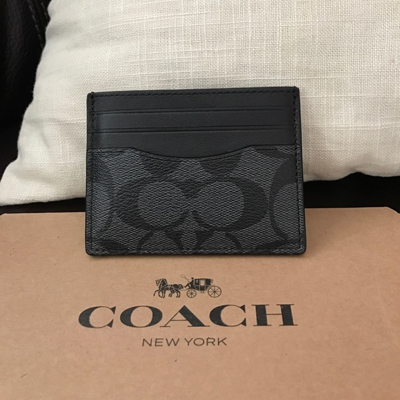 COACH Leather Men's Black Slim Signature ID Wallet Card Case F58110 NWT $75.00